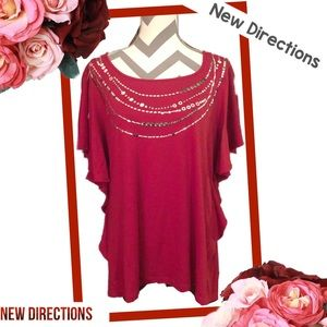 NEW DIRECTIONS Cranberry Red Flutter Sleeve Blouse